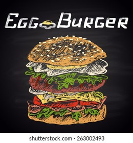 Colored chalk painted illustration of egg burger with text.