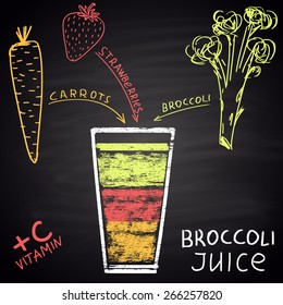 Colored chalk painted illustration of juice with carrot, strawberry and broccoli. Infographic. Fitness theme.