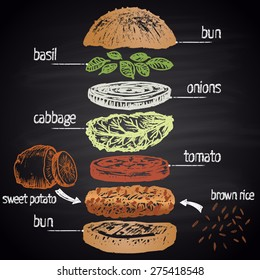 Colored chalk painted illustration of vegan burger ingredients with text. Infographic.
