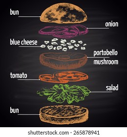 Colored chalk painted ingredients of vegetarian burger. Infographic.