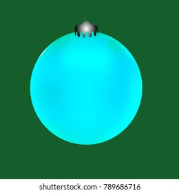 Colored Christmas ball. Christmas tree toy for invitation, card, celebration, party, carnival, festive holiday and Your project. Vector illustration. Green Background