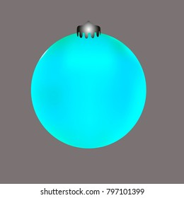 Colored Christmas ball. Christmas tree toy for invitation, card, celebration, party, carnival, festive holiday and Your project. Vector illustration. Gentle grey Background