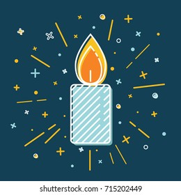 Colored Christmas candle icon in thin line style. Traditional symbol isolated on blue background.