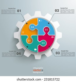 Colored circle puzzle with gear infogrpahic on the grey background. Eps 10 vector file.