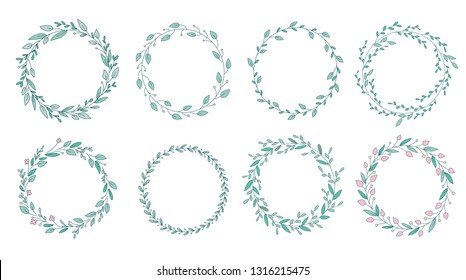 Colored circular laurel foliate and wreath. Design element for invitations, quotes, greeting cards, blogs and more.