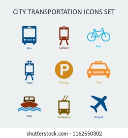 Colored City and public transportation icons set. Silhouette vector signs