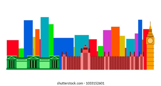 Colored cityscape of London