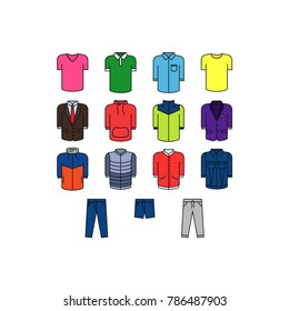 Colored clothes icons