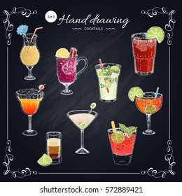 Colored cocktails hand drawn set including blue lagoon margarita sex on beach on texture chalkboard vector illustration
