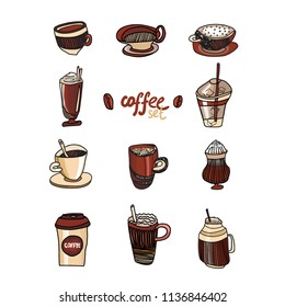Colored Coffee Collection. Hand Drawn set of different types of Coffee. Vector Sketch Illustration Set, Cups, Coffee Beans. Latte, Cappuchino, Black Coffee, Ice Latte and other Vector Drinks.