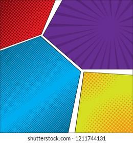 Colored comic page image. Vector illustration design