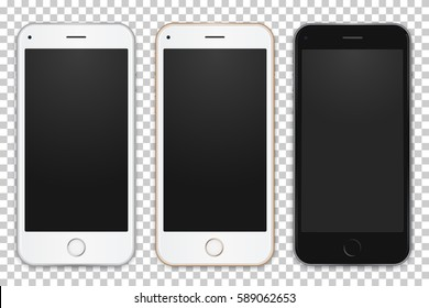 Colored concept of modern phones with empty screens, realistic white, gold and black mobile templates on transparent background. High quality vector illustration.