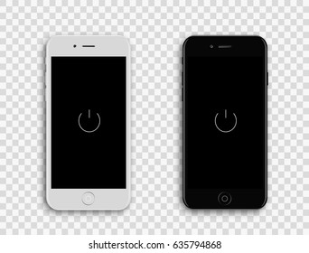 Colored concept of modern phones with empty screens, realistic white and black mobile templates on transparent background. High quality vector illustration.