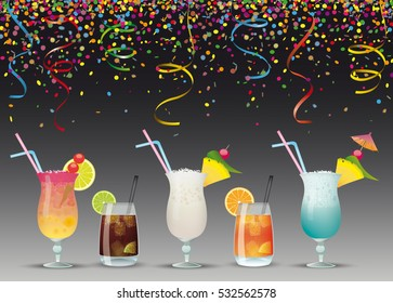 Colored confetti with cocktails on the dark background. Eps 10 vector file.