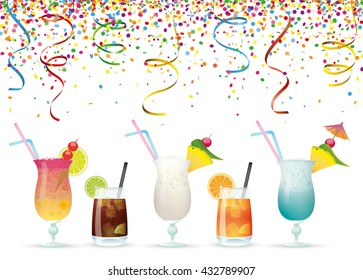 Colored confetti with cocktails on the white. Eps 10 vector file.