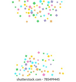 Colored confetti on white. Small multicolored squares in pink, orange, blue, green, felted and purple. Element of design. Suitable for postcards, posters, cards. Vector illustration, EPS 10.