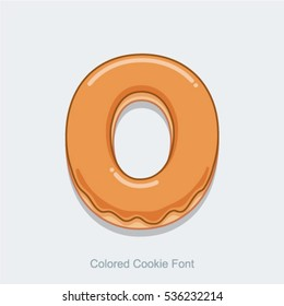 Colored Cookie Font. Vector illustration. Letter O