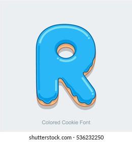 Colored Cookie Font. Vector illustration. Letter R