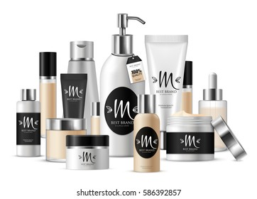 Colored cosmetic template composition for business presentation and with label with brand vector illustration