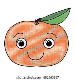 colored crayon silhouette of happy cartoon tangerine fruit vector illustration