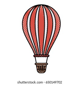 colored crayon silhouette of hot air balloon vector illustration