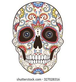 Colored Day Of The Dead Sugar Skull With Doodle Ornament Vector Illustration