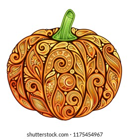 Colored Decorative Pumpkin. Fall Plant with Paisley Floral Ornament. Design Element for Thanksgiving and Halloween Holidays. Greeting Card, Label, Packaging Template. Vector 3d Realistic Illustration