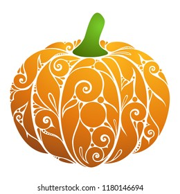 Colored Decorative Pumpkin. Fall Plant with Floral Ornament. Design Element for Happy Thanksgiving and Halloween Greeting Card. Embroidery, Lazer Cut, Embossing Template. Vector Contour Illustration