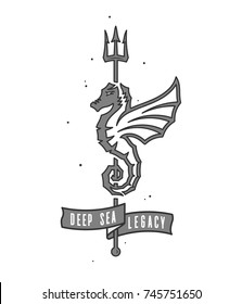 Colored deep sea seahorse legacy illustration for any use
