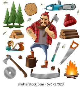 Colored deforestation and lumberjack icon set with tools and equipment for deforestation vector illustration
