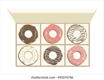Colored delicious donuts with sprinkles in a box