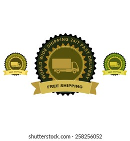 """Colored delivery guarantee badges or signs. Truck with """"Free shipping"""" text."""