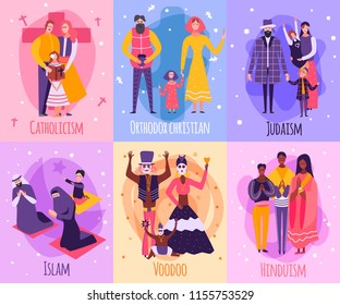 Colored different religious people family card set with Catholicism islam voodoo Hinduism Judaism and orthodox Christian descriptions vector illustration