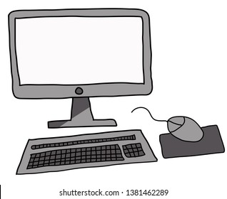 Colored Doodle of a Computer desktop mouse keyboard and screen - Perfect for whiteboard animation software