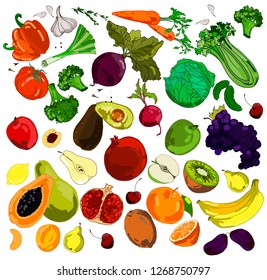 Colored doodle fruits and vegetables. Hand drawing. Vector sketch illustration of healthy food. Vector graphics eps 10