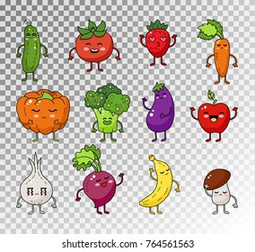 Colored doodle set of fruits and vegetables. Vector sketch illustration of healthy food. Vegetable and fruit cute happy character.