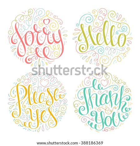 Colored Doodle Typography Quotes Cute Romantic Stock Vector Royalty