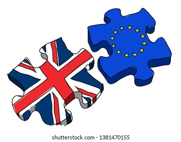 Colored Doodle of UK and Europe Flags puzzle about the BREXIT - Perfect for whiteboard animation software