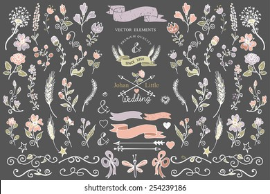 Colored  Doodles flower,brunshes,arrow,ribbon,decor elements set for hand sketced logo.Easy to make design templates,invitations,logo.For weddings,Valentine day,holiday,birthday,Easter.Vector