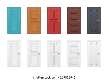 Colored doors set. Vector illustration