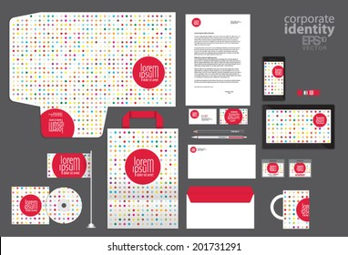 Colored dot style corporate identity template design. Vector company style.