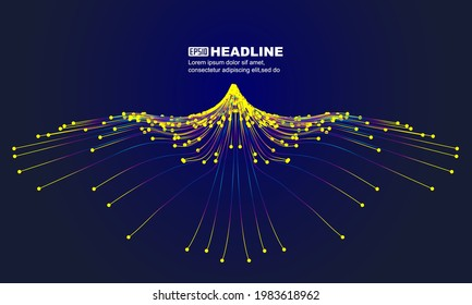 Colored dots and lines converged like an eagle flying with wings spread wide