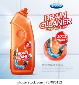 Colored drain cleaner poster with drain cleaner 100 percent result removes tought stains description vector illustration