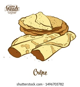 Colored drawing of Crêpe bread. Vector illustration of Pancake food, usually known in France. Colored Bread sketches.