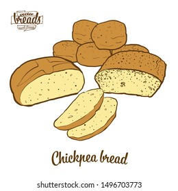 Colored drawing of Chickpea bread bread. Vector illustration of Leavened food, usually known in Albania and Turkey. Colored Bread sketches.
