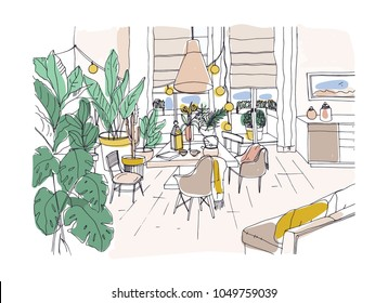 Colored drawing of cozy dining or living room furnished in modern Scandic hygge style with table, chairs, couch. Lounge area full of trendy comfy furniture and home decorations. Vector illustration