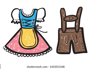 Colored Drawing Dirndl and Lederhose / Vector, isolated