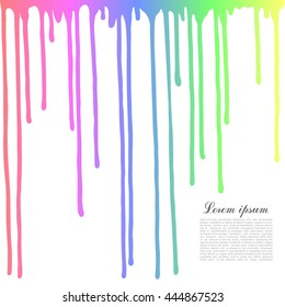 Colored drops on a white background. Dripping paint.
