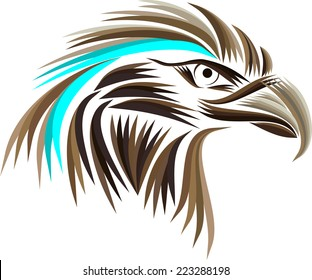 Colored eagle head