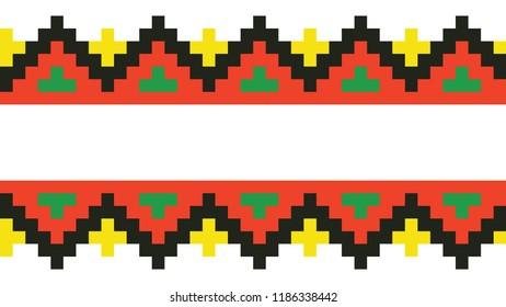 colored embroidery border. ethnic ukrainian ornament in cross stitch style. hutsul colors